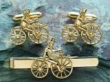 'The Hobby Horse' silver cuff links and tie bar set