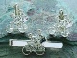 Sweetheart Travellers silver cuff links and tie bar Set